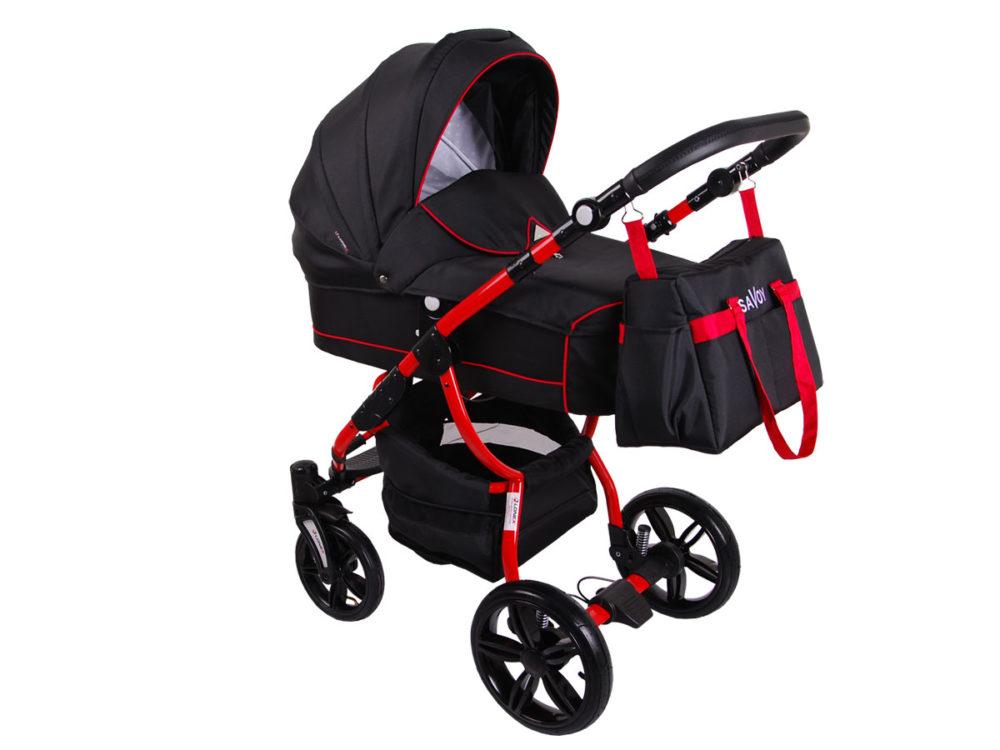 Детская коляска LONEX SAVOY 2 В 1 (черный/красный)