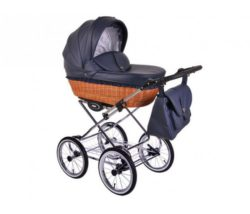 Детская коляска LONEX RETRO ECCO LEDER 2 В 1 (темно-синий)
