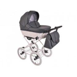 Детская коляска LONEX RETRO ECCO LEDER 2 В 1 (темно-серый)