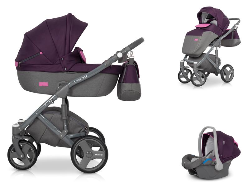 Детская коляска Riko Vario 3 в 1 (Серый/фиолетовый)
