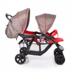 Прогулочная коляска Baby Care Tandem для двойни (красный)