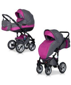 Детская коляска Riko brano 3 в 1 (Серый/розовый)