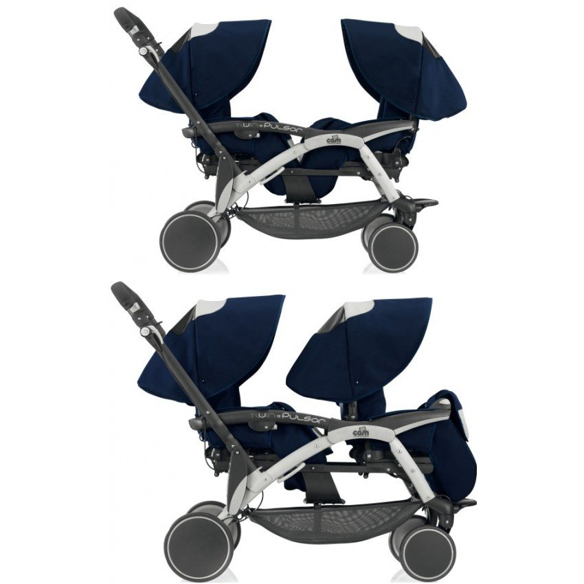Прогулочная коляска для двойни Cam Twin Pulsar (темно-синий)