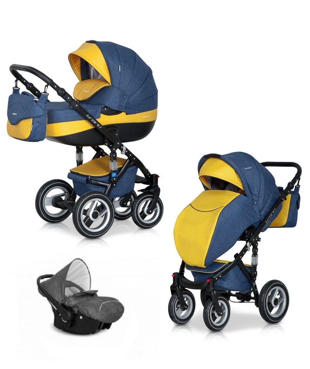 Детская коляска Riko brano 3 в 1 (Синий/желтый)