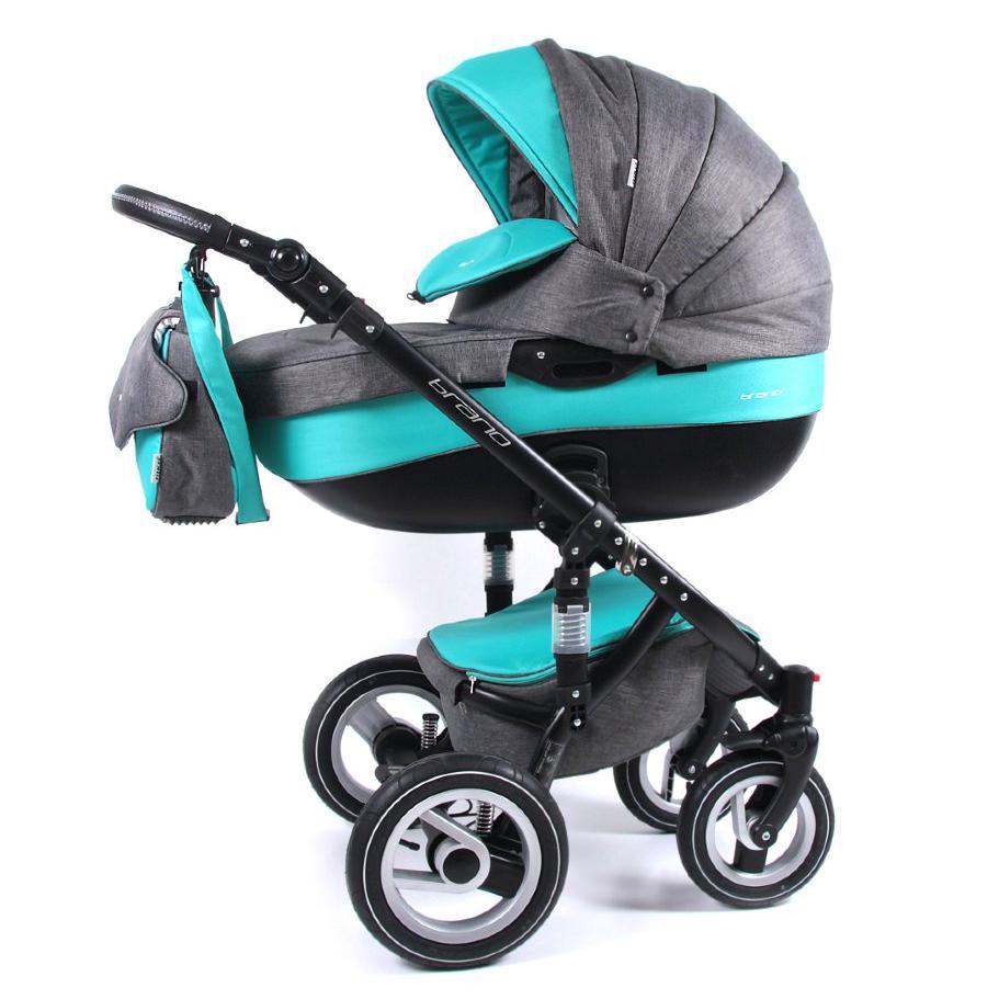 Детская коляска Riko brano 3 в 1 (Серый/бирюзовый)