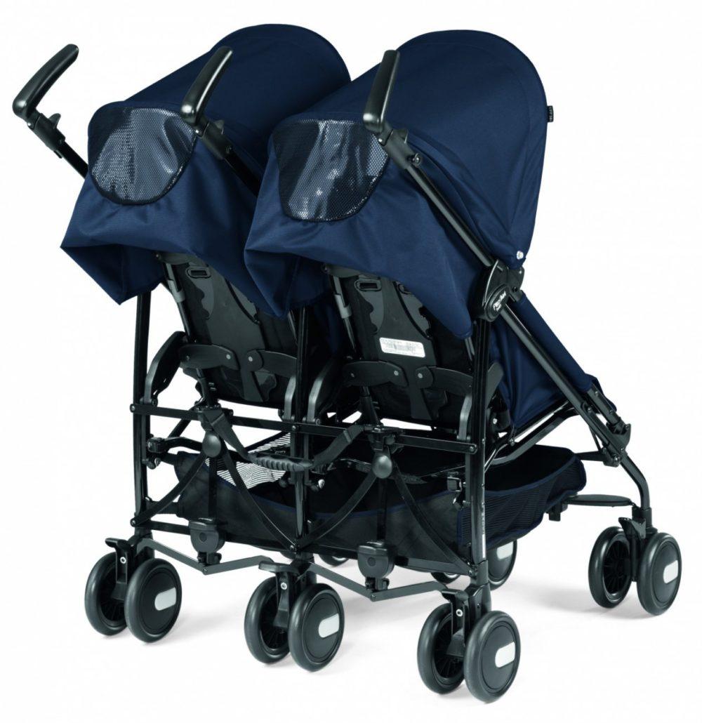 Коляска-трость для двойни Peg-Perego Pliko Mini Twin Classico (Синий)