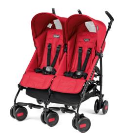 Коляска-трость для двойни Peg-Perego Pliko Mini Twin Classico (Красный)