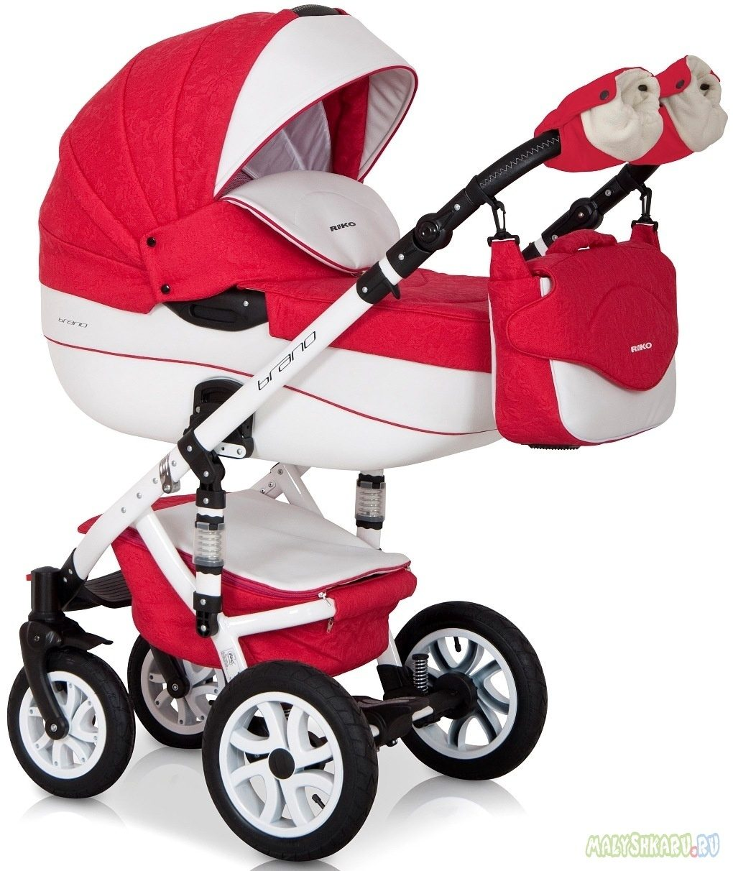 Детская коляска Riko brano ecco 3 в 1 (Красный/белый)
