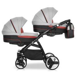 Детская коляска для двойни Riko Team 3 в 1 (Серый/Красный)