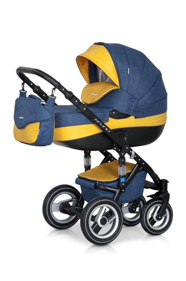 Детская коляска Riko Brano 2 в 1 (Синий/желтый)
