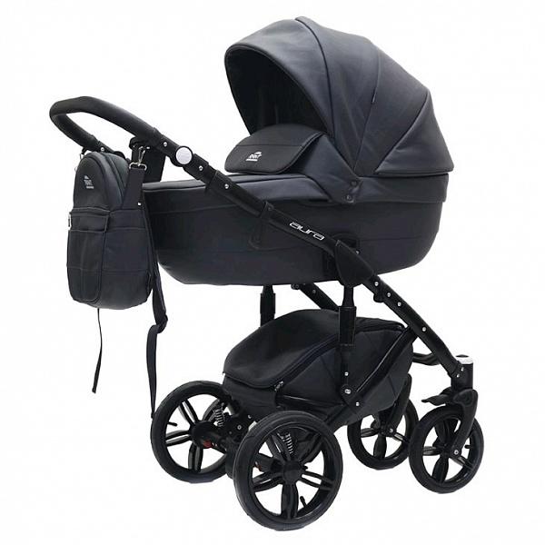 Детская коляска Rant Aura S Line 2 в 1, эко-кожа (черный)