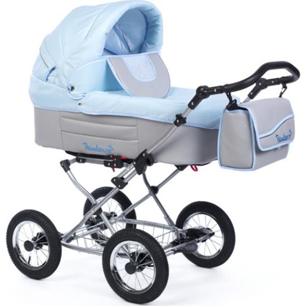 Детская коляска Reindeer Betta 3 в 1, эко-кожа + ткань (голубой)