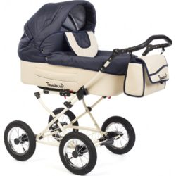 Детская коляска Reindeer Betta 3 в 1, эко-кожа + ткань (синий)