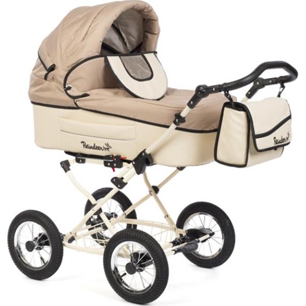 Детская коляска Reindeer Betta 3 в 1, эко-кожа + ткань (бежевый)