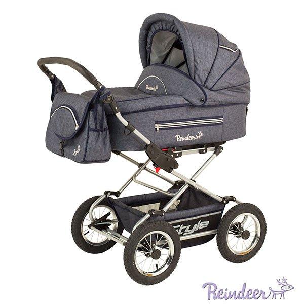 Детская коляска Reindeer Style Len 3 в 1 с конвертом (темно-серый)