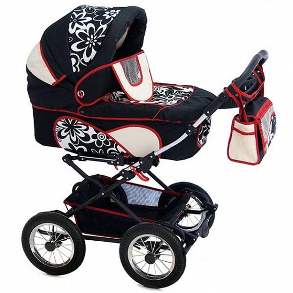 Детская коляска Reindeer Mega 2 в 1 (черный с рисунком)