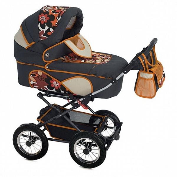 Детская коляска Reindeer Mega 2 в 1 (черный/оранжевый)