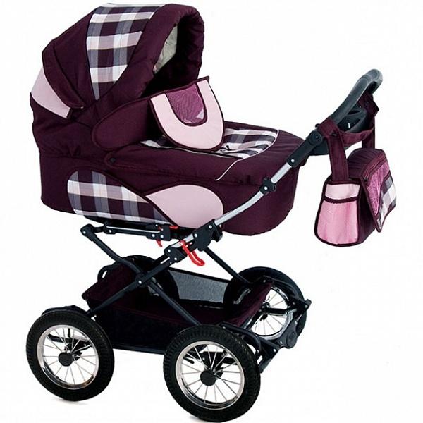 Детская коляска Reindeer Mega 3 в 1 (бордовый)