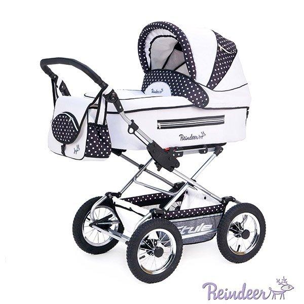 Детская коляска Reindeer Style 3 в 1 с конвертом (белый с узором)