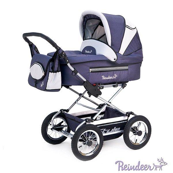 Детская коляска Reindeer Style 3 в 1 с конвертом (синий)