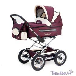 Детская коляска Reindeer Style 3 в 1 с конвертом (бордовый)