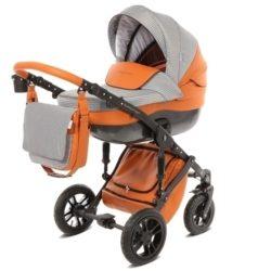 Детская коляска Noordline Stephania Combi 2 в 1, ткань+эко-кожа (оранжевый)