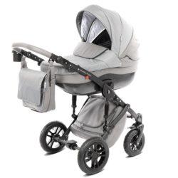 Детская коляска Noordline Stephania Combi 2 в 1, ткань+эко-кожа (серый)