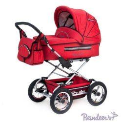 Детская коляска Reindeer Style 3 в 1 с конвертом (красный)