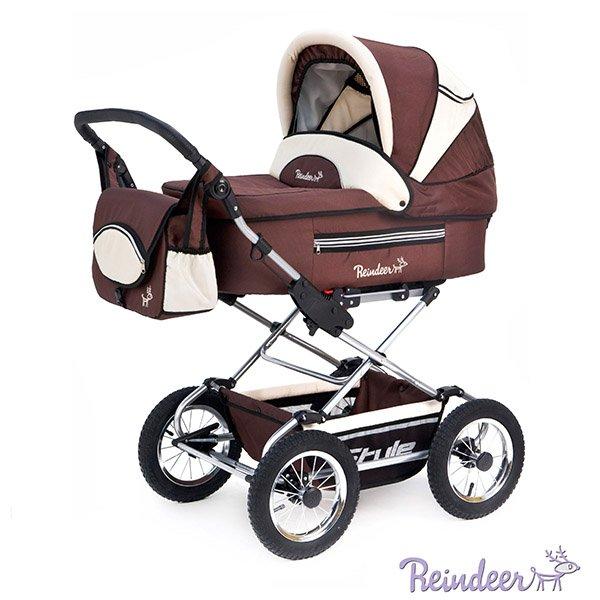 Детская коляска Reindeer Style 3 в 1 с конвертом (коричневый)