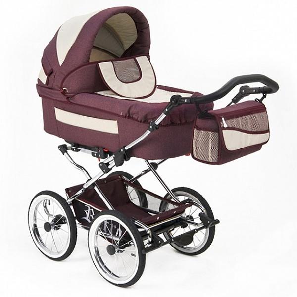 Детская коляска Reindeer Retro 3 в 1 (бордовый)