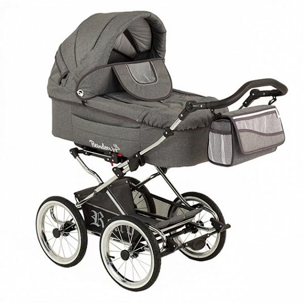 Детская коляска Reindeer Retro 3 в 1 (серый)