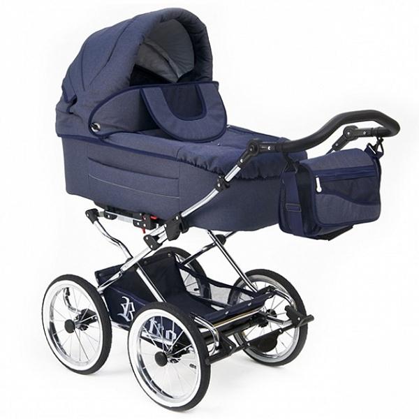 Детская коляска Reindeer Retro 3 в 1 (темно-синий)