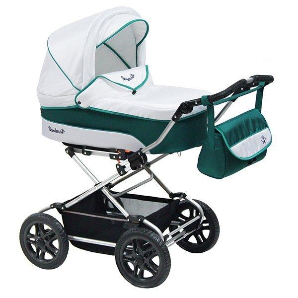 Детская коляска Reindeer Nova 3 в 1 (белый/зеленый)