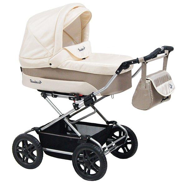 Детская коляска Reindeer Nova 3 в 1 (белый/бежевый)