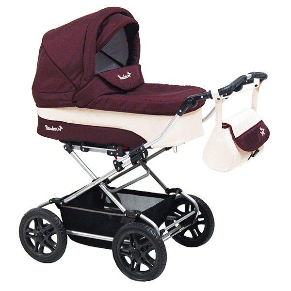 Детская коляска Reindeer Nova 3 в 1 (белый/бордовый)