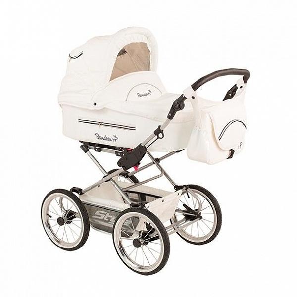 Детская коляска Reindeer Style Leather Collection 3 в 1 с конвертом (белый)