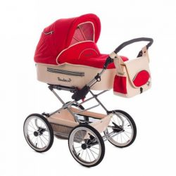 Детская коляска Reindeer Style Leather Collection 3 в 1 с конвертом (красный)