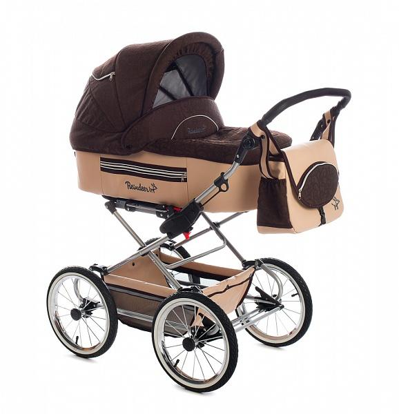 Детская коляска Reindeer Style Leather Collection 3 в 1 с конвертом (темно-коричневый)