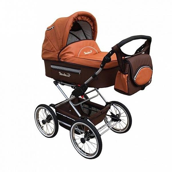 Детская коляска Reindeer Style Leather Collection 3 в 1 с конвертом (коричнево-оранжевый)