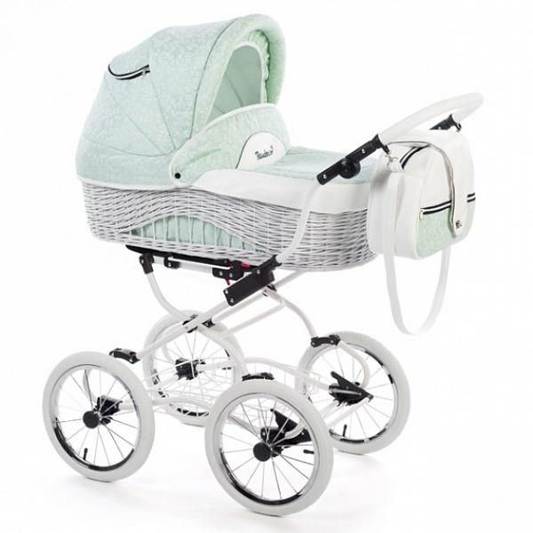 Детская коляска Reindeer Prestige Wiklina 2 в 1 с конвертом (зеленый)