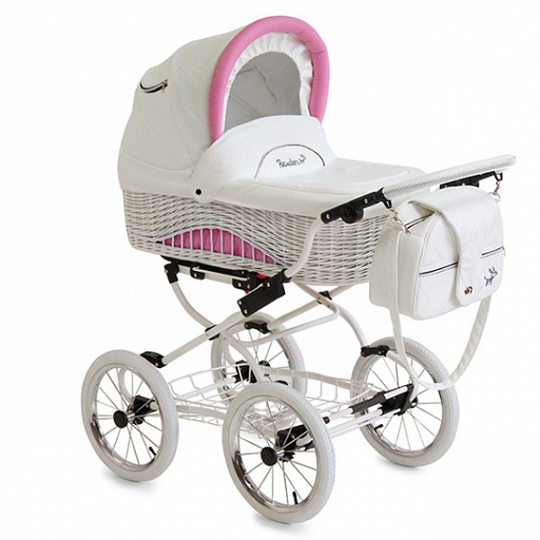 Детская коляска Reindeer Prestige Wiklina 2 в 1 (белый/розовый)