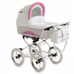 Детская коляска Reindeer Prestige Wiklina 3 в 1 (белый/розовый)
