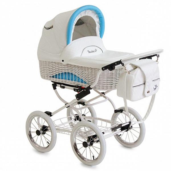Детская коляска Reindeer Prestige Wiklina 3 в 1 с конвертом (белый/голубой)