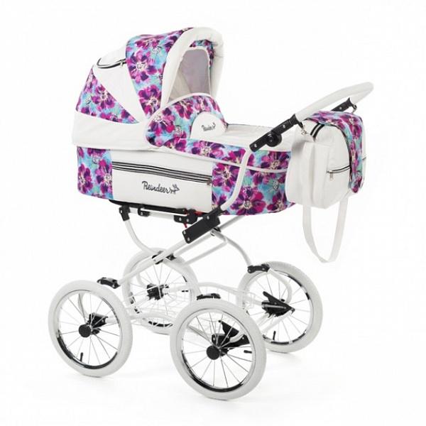 Детская коляска Reindeer Prestige Lily 2 в 1 с конвертом, эко-кожа, (фиолетовый с рисунком)