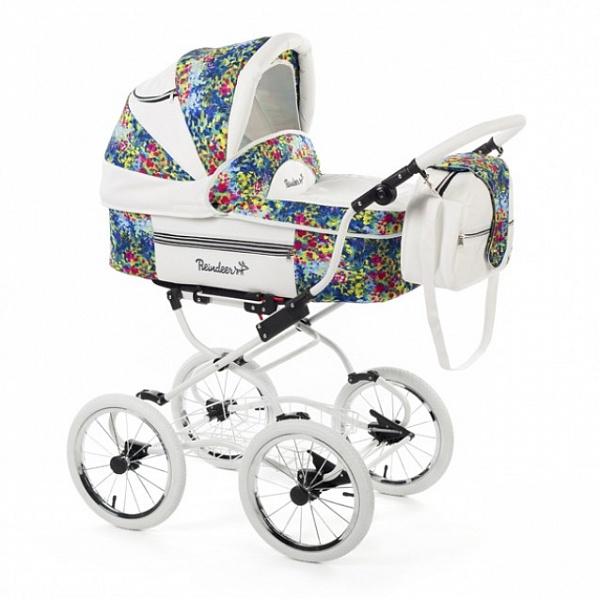 Детская коляска Reindeer Prestige Lily 2 в 1 с конвертом, эко-кожа (синий с рисунком)