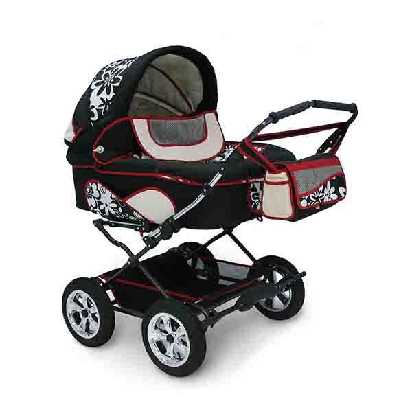 Детская коляска для двойни Reindeer Twin 2 в 1 (черный с рисунком)