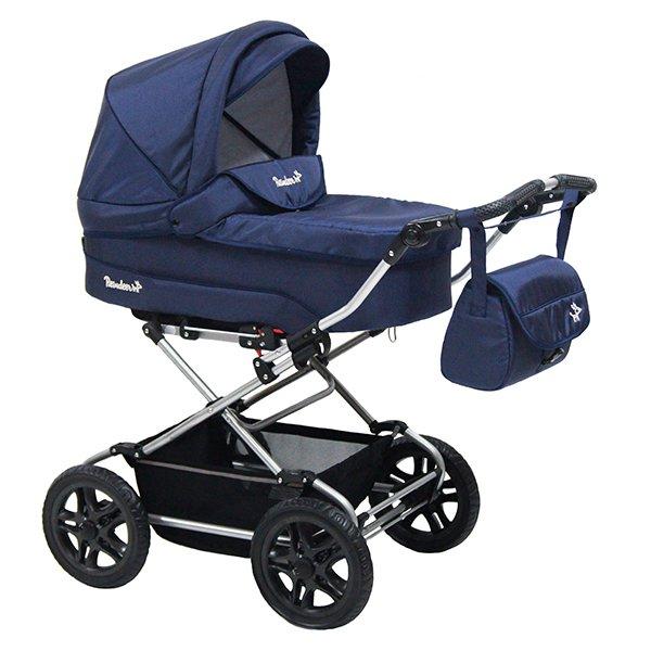 Детская коляска Reindeer Nova Люлька и автокресло (темно-синий)