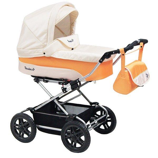 Детская коляска Reindeer Nova Люлька и автокресло (белый/оранжевый)