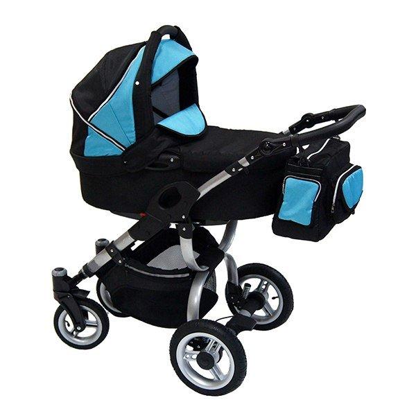 Детская коляска Reindeer City Cruise 3 в 1 с конвертом (черный/голубой)