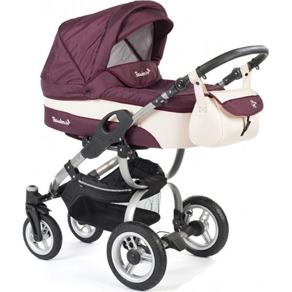 Детская коляска Reindeer City Nova 2 в 1, люлька+автокресло (Бордовый/белый)